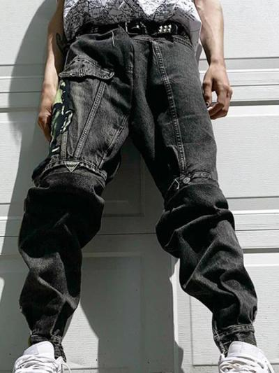 Black casual loose mens trousers TT010