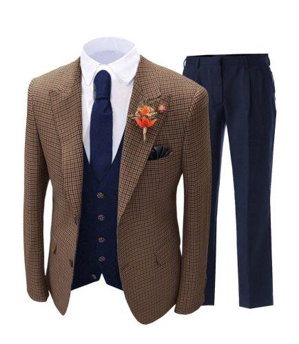 Brown Formal Men's Suits Regular Fit Plaid Wool Tweed Prom Tuxedos 3 Piece Solid Suit For Wedding Grooms (Blazer+Vest+Pants)