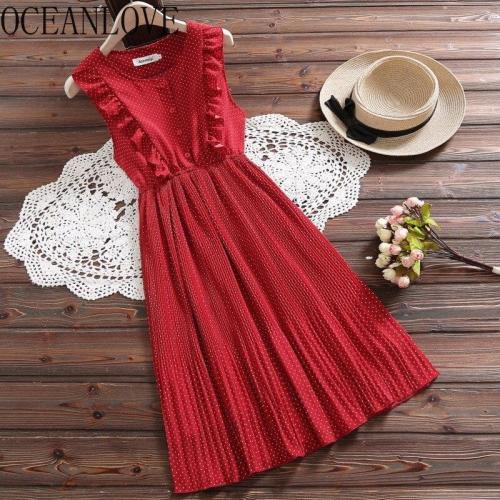 JOYMANMALL Chiffon Mori Girls Dress Women A-line High Waist Ruffles Sweet Vestidos 2020 O Neck Student Long Dresses New 15626
