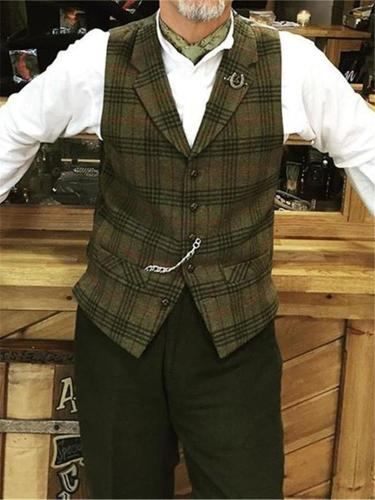Men's Single-breasted Lapel Plaid Vest