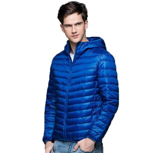 Ultra Light Down Jackets Mens 2020 Autumn Winter Coat Fashion Hooded 90% White Duck Down Jackets Male Coat Thin Slim Down Parkas