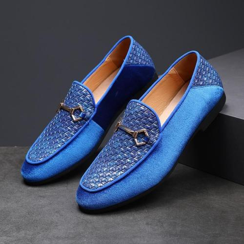 Suede Woven Metal Buckle Men's Leather Loafers