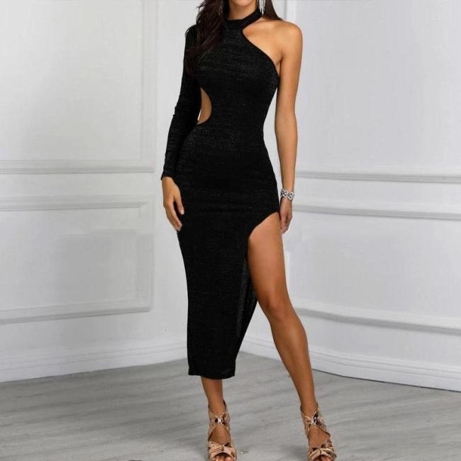 Women's Sexy Sloping Shoulder Pure Color Paillette Slit Dress