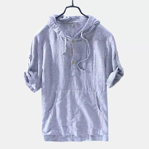 Mens Summer Breathable Half Sleeve Hoodies T-shirt