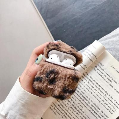Leopard Plush AirPods Case Winter Warm Shockproof Cover