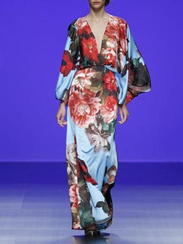 Sexy V-Neck Floral Printed Maxi Dress