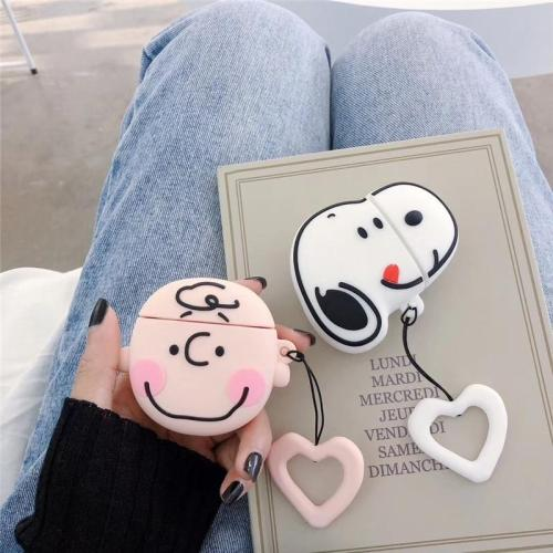 Snoopy Charlie Brown 3D Silicone AirPod Case Cover with Ring