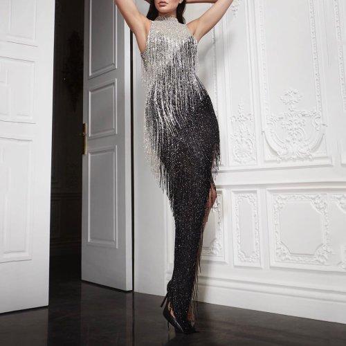 Women sexy tassel asymmetry shining dress