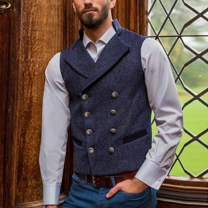 Men's British style blue lapel double-breasted wool vest