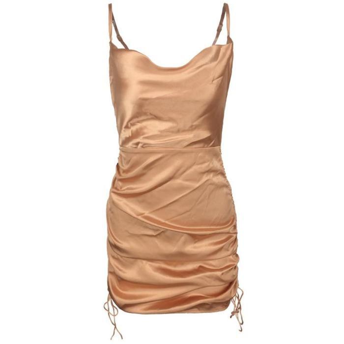 Summer Sleeveless Short Beach Dress Satin Mini Dress Women Ruched Pleated Drawstring Casual Dress Female Vestidos