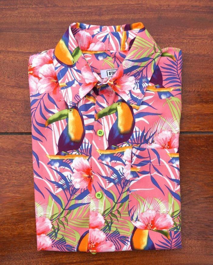 Men Casual Hawaiian Animal Printed Shirt