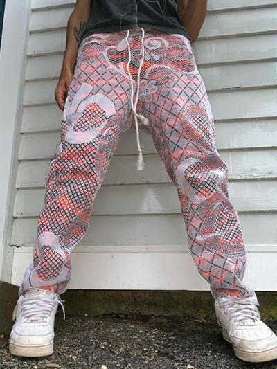 Vintage imitation hollow casual loose mens pants TT010