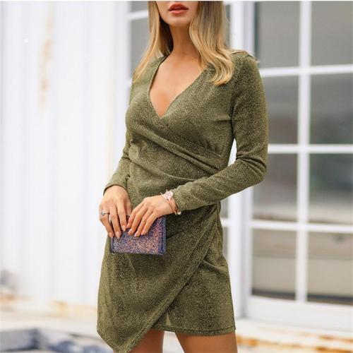 Fashion Sexy V Neck Show Thin Mini Dresses