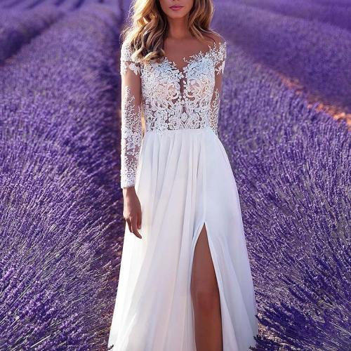 Sexy Retro Slit Long Sleeve Lace Perspective Evening Dress