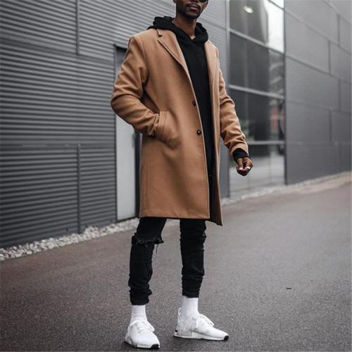 Fashion men's lapel solid color coat