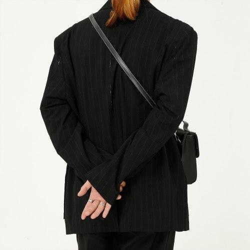 New Male Streetwear Hip Hop Vintage Fashion Suit Coat Outerwear Men Broken Style Stripe Casual Loose Suit Blazers Jacket Suit