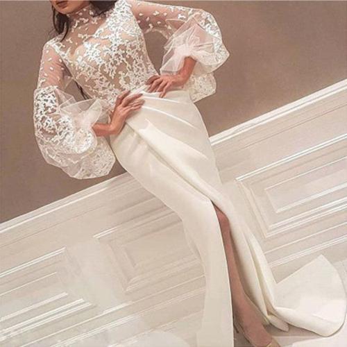 Sexy Lace Slit Long Sleeve Dress