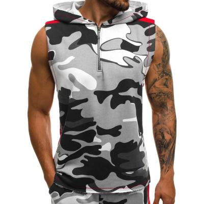 2019 New Arrival Hoodies Camouflage Vest Fitness Clothes Bodybuilding Tank Top Men Sleeveless Sporting Shirt Casual Waistcoat