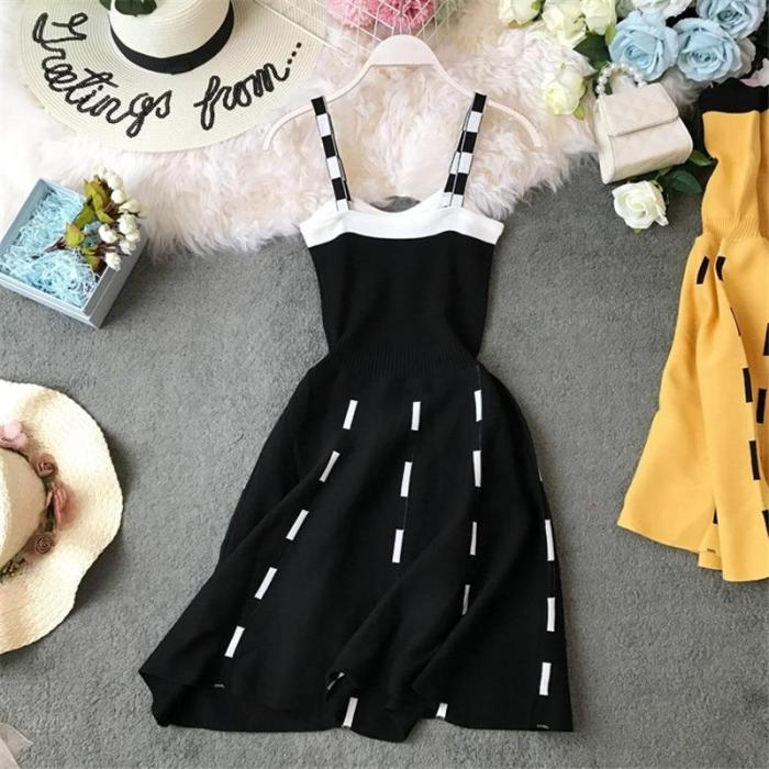 JOYMANMALL Chic Korean A-line Women Dress High Waist Knitting Vestidos Buttons 2020 Summer Elegant Fashion Mini Dresses 11923