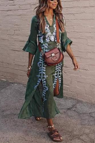 Women's  Cotton/Linen Dress V-Neck Split Floral Print Maxi Dress