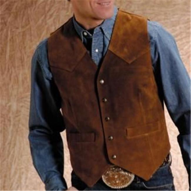 Vintage Brown Single-breasted Vest