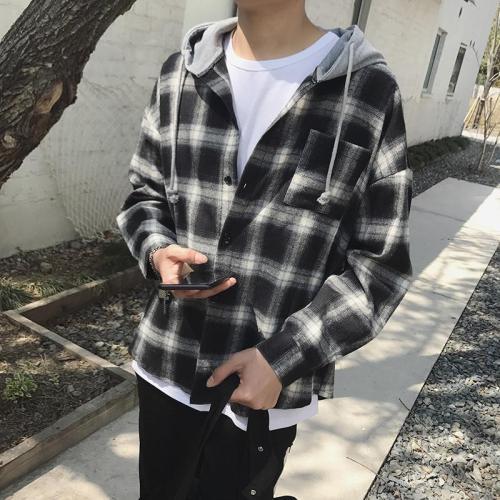 Japanese retro black and white check shirt plaid hooded jacket