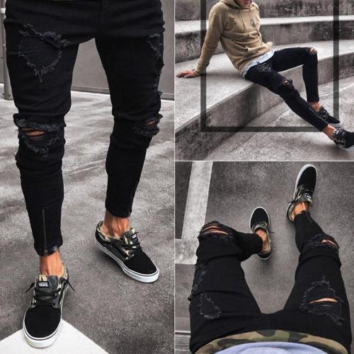 Slim Fit Stretch Ripped Distressed Zipper Skinny Jeans