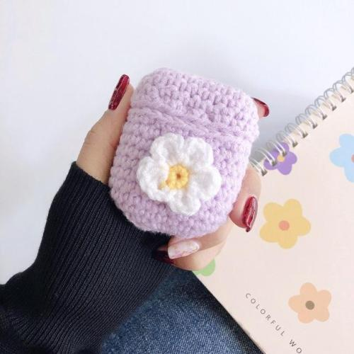 Kwaii Flower Handmade Knitted Plush Doll Winter AirPod Case