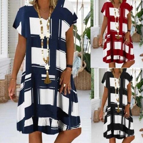 Plus Size Women's Vintage Dresses digital Print Short Sleeve V-neck Dresses Casual Boho Sundress Women Summer Loose Dress