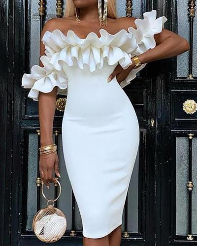 Sexy Lotus Leaf Side Sleeve Bodycon Dress