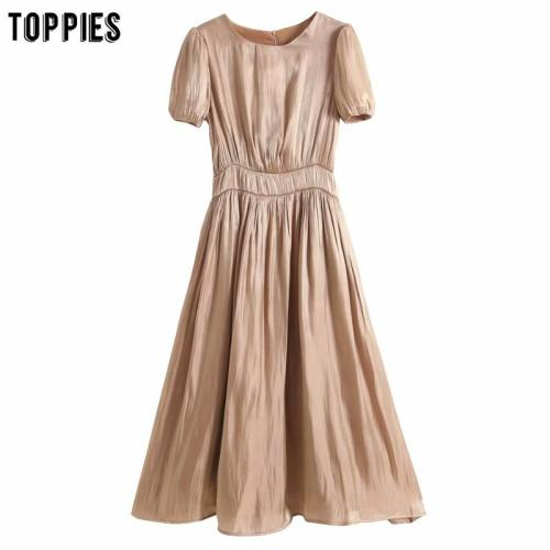 toppies 2020 womens plain short sleeve shirts dress slim a-line midi dress solid color ladies satin vestidos