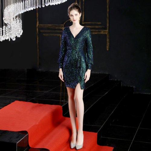 shining V-neck Evening Dresses Short sequins evening gown Party Elegant Formal Long sleeve evening Dress