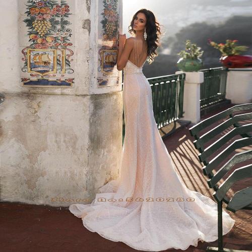 Vestido De Novia Sirena Beading Crystal Shiny Pink Mermaid Wedding Gowns Sexy Backless Trumpet Wedding Dress Hochzeitskleid
