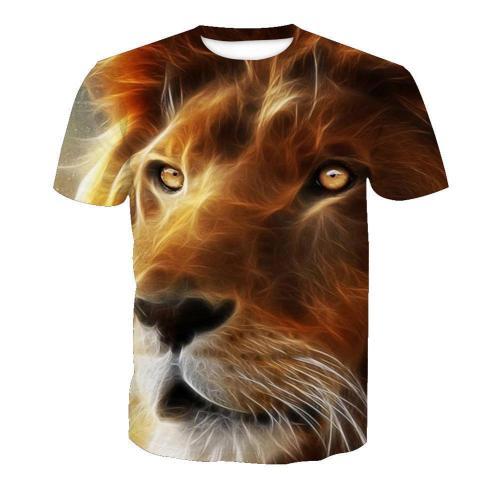 3D Lion Print Fashion Funny Men Short Sleeve T-Shirt Tee Tops