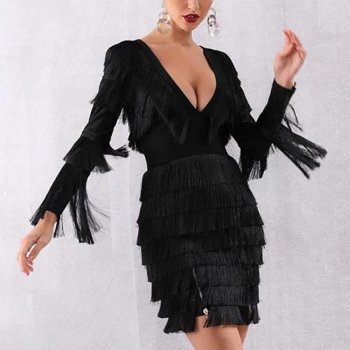 Elegant pure color V-collar long sleeved tassel evening dress
