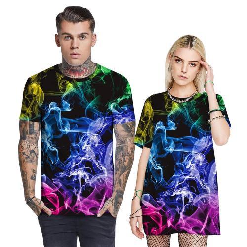 3D Smoke Printed Funny Men T-shirt Loose Casual Novelty Short Sleeve Tees Top