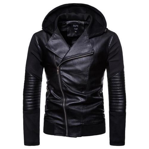 Space cotton stitching locomotive PU leather jacket