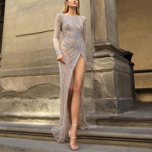 Sexy Paillette Side Slit Long Sleeve Evening Dress