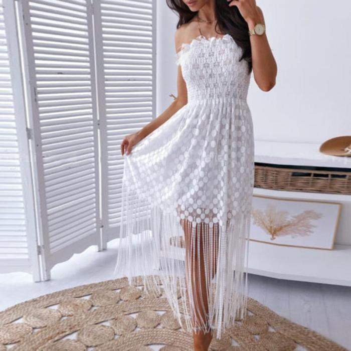Sexy Word Collar Sleeveless Tassel Stitching Dress Evening Dress