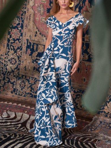 Elegant V Neck Printed Colour Maxi Dress Evening Dress