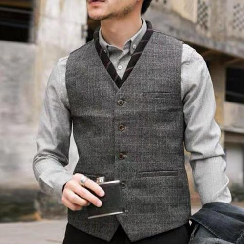 Mens classic casual check buckle vest