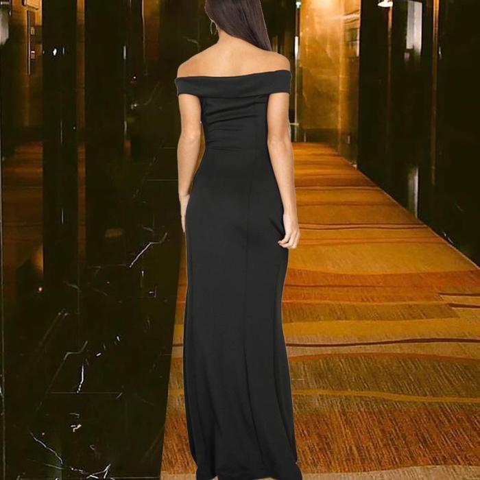 Off-the-shoulder V-neck Slit Evening Dress