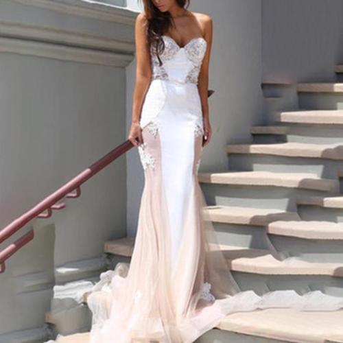 Loose-Back Lace Stitching Evening Dress