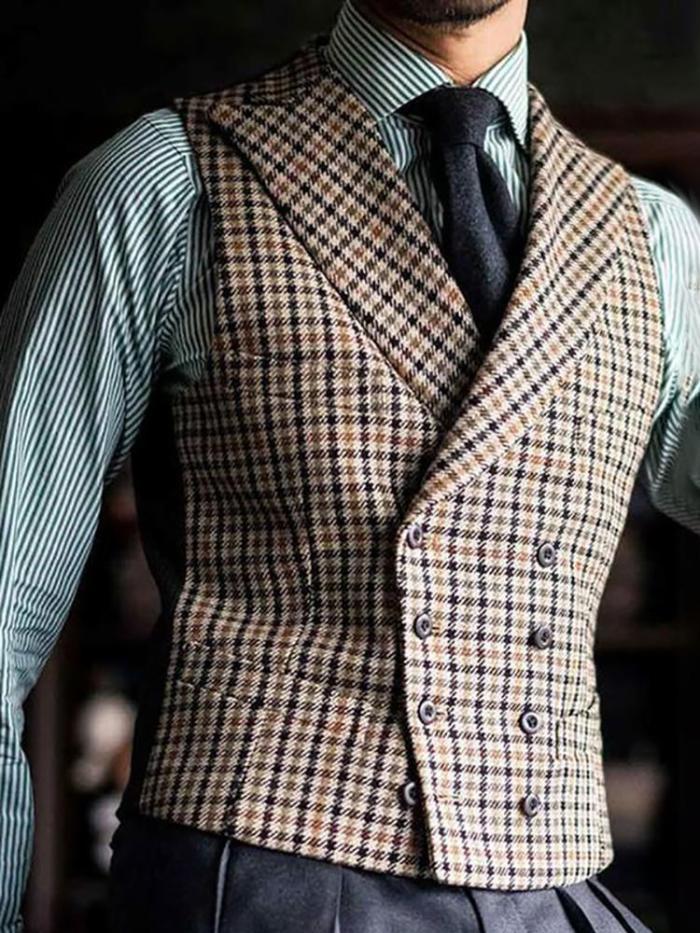 Vintage Fashion Double-Breasted Plaid Vest