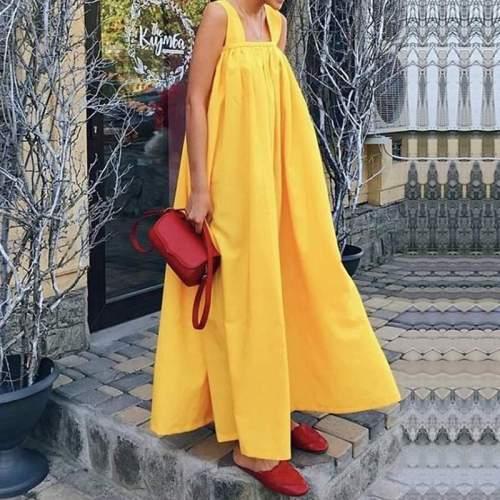 Bohemian Style Pure Color Sleeveless Loose Sling Beach Skirt