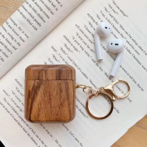 Wooden Hard Shockproof AirPod Case Cover With Keychian