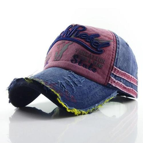 Mens Washed Denim Embroidere Pattern Sunshade Baseball Cap