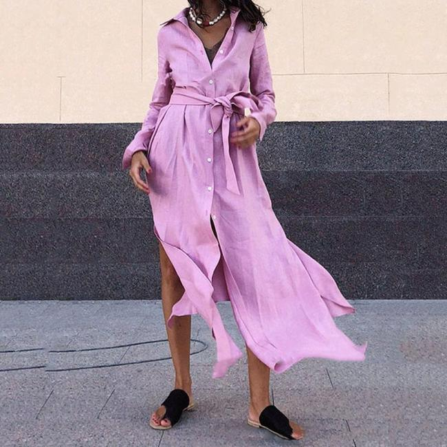 Women's Belted Pure Color Single-Breasted Loose Dress