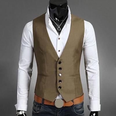 Vests For Men Slims Fit Mens Suit Vest Male Waistcoat Gilet Homme Casual Sleeveless Formal Business Jacket Vests