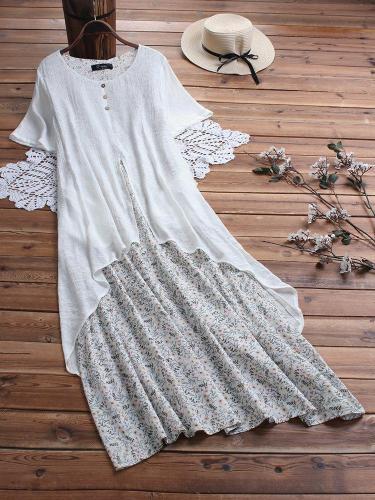 Summer Floral Print Layer Vintage Plus Size Maxi Dress